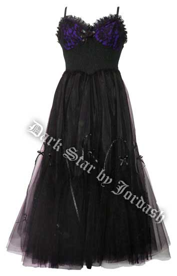Dark Star Gothic Purple & Black Hard Tulle Ribbon Lace Ball Gown