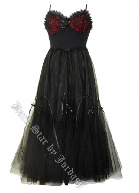 Dark Star Gothic Red & Black Hard Tulle Ribon Lace BallGown