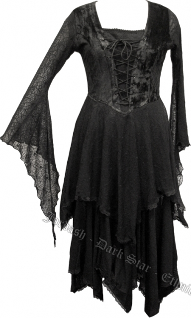 Dark Star Gothic Medieval Cobweb Long Black  Dress