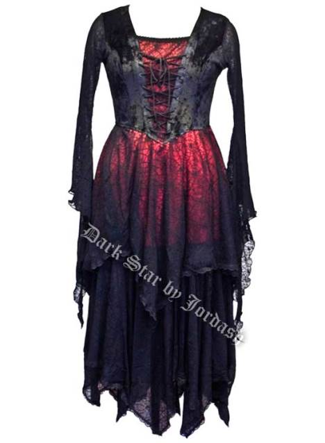 Dark Star Gothic Medieval Cobweb Long Black & Red Dress