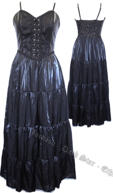 Dark Star Taffeta PVC Shimmery Black Gothic Dress