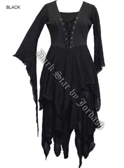 Dark Star Gothic Black Bellsleeve Lace Cobweb Long Black Dress