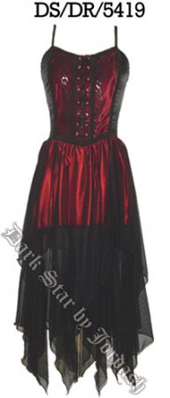 Dark Star Gothic Red & Black Satin Velvet Dress