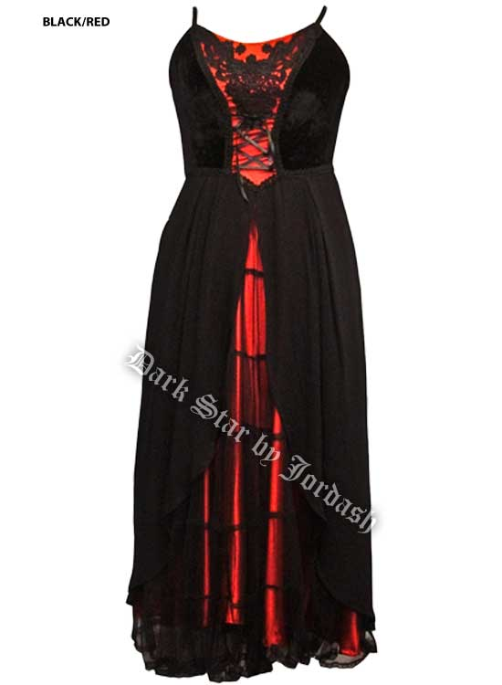 Dark Star Red and Black Velvet and Mesh Gothic Medieval Dress