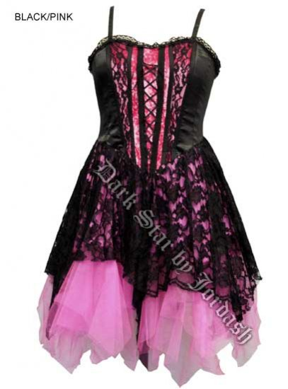 Dark Star Black and Pink Satin Velvet Lace Gothic Mini Dress
