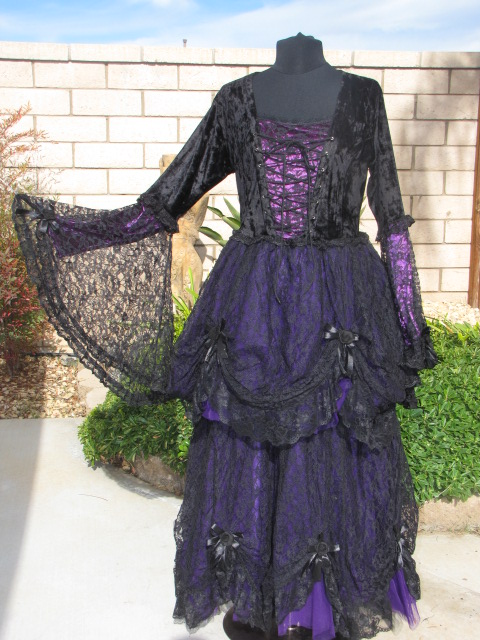 Dark Star Black Lace & Purple Velvet Romantic Gothic Fairy Dress