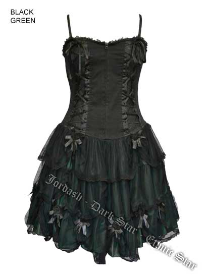 Dark Star Satin Lace Black & Green Gothic Rose Corset Dress