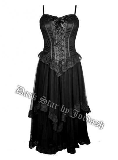 Dark Star Black Gothic Satin & Lace Netted Long Corset Dress