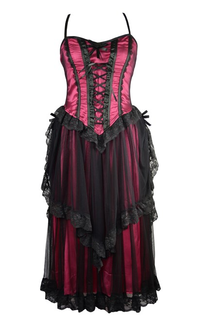 Dark Star Black & Dark Pink Gothic Satin & Lace Netted Long Corset Dress