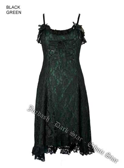 Dark Star Gothic Black & Green Lace & Roses Silk Satin Dress