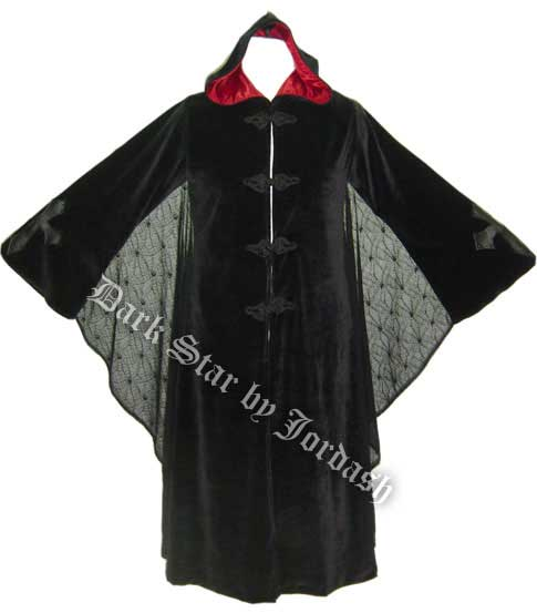 Dark Star Black and Red Hooded Velvet Coat w Spiderweb Bat Wings