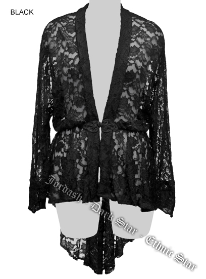 Dark Star Black Lace Gothic Duster Jacket w Frog Fastening