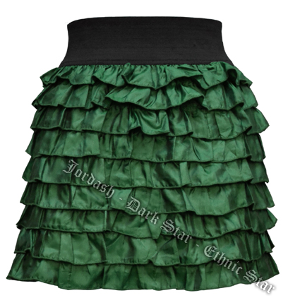 Dark Star Green Layered Ruffled Gothic Short Mini Skirt