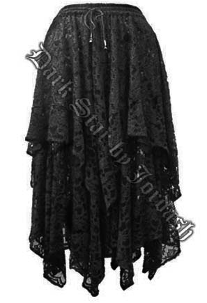Dark Star Black Lace Layered Gothic Skirt