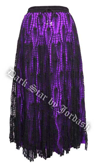 Dark Star Gothic Black Purple Satin Crochet Lace Skirt