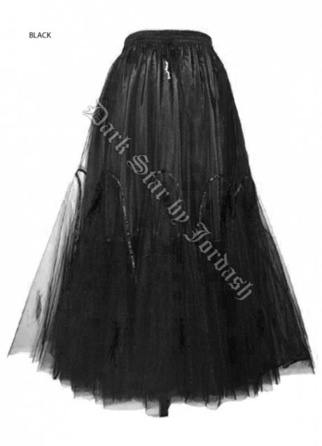 Dark Star Black Victorian Long Tulle Skirt