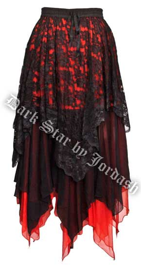 Dark Star Gothic Black and Red Lace Satin Net Multi Tier Witchy Hem Skirt