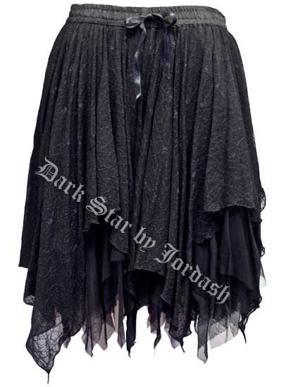 Dark Star Black Spiderweb Lace Layered Gothic Short Skirt