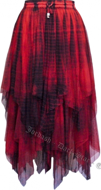 Dark Star Gothic Black and Red Lace Net Multi Tier Witchy Hem Skirt
