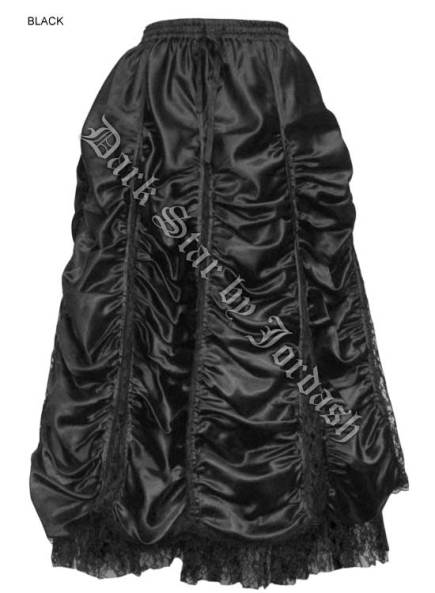 Dark Star Long Black Satin & Lace Gothic Victorian Skirt
