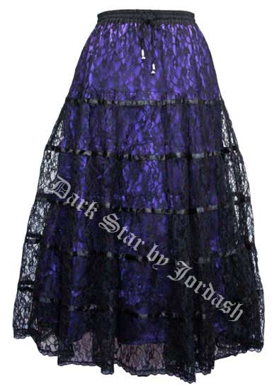 Dark Star Black and Purple Satin Lace Tiered Gothic Skirt