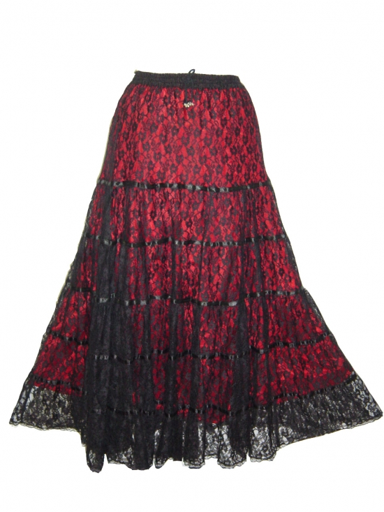 Dark Star Black and Red Satin Lace Tiered Gothic Skirt