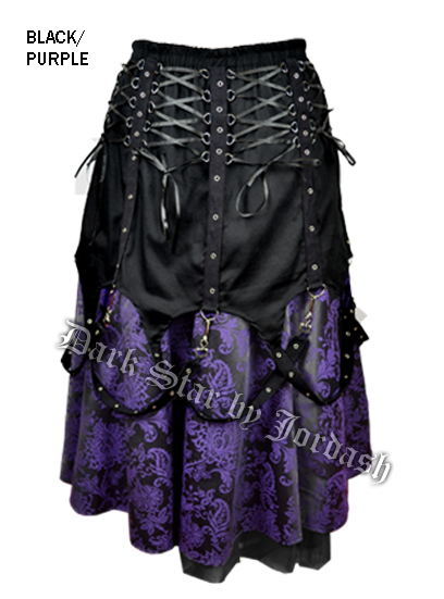 Dark Star Black and Purple Brocade Chains Gothic Skirt