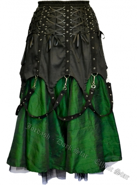 Dark Star Black and Green Chains Gothic Skirt