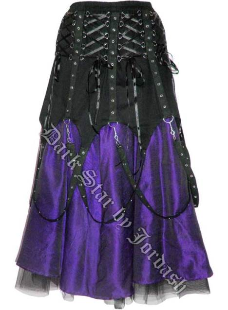 Dark Star Black and Purple Chains Gothic Skirt