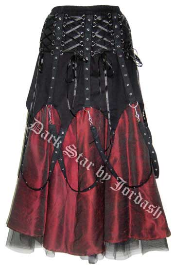 Dark Star Black and Red Chains Gothic Skirt