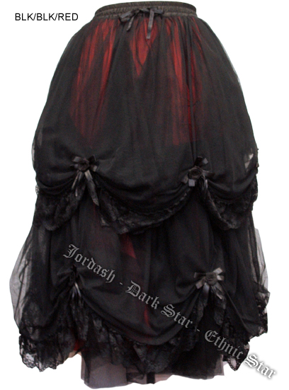 Dark Star Long Black and Red Satin Roses Gothic Fairytale Skirt