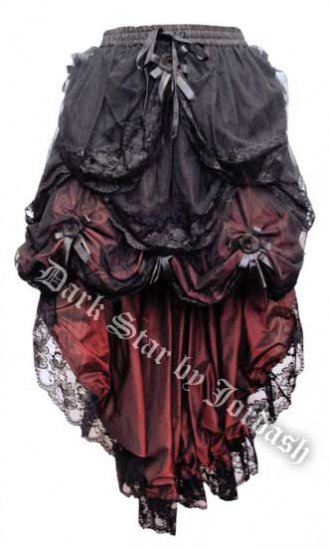 Dark Star Black & Red Gothic Satin Roses Lace Hi Low Skirt