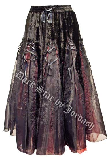 Dark Star Black Red Velvet Ribbons Organza Long Gothic Skirt