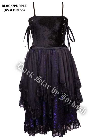 Dark Star Black and Purple Corset Dress Skirt