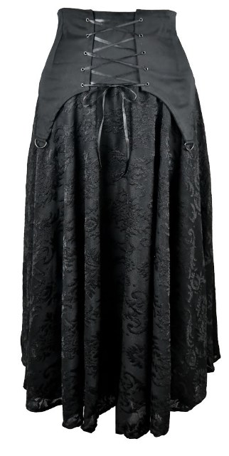 Dark Star Black Cotton Satin Lace Corset Ribbon Gothic Skirt