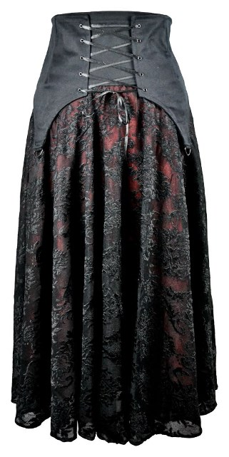 Dark Star Black and Red Cotton Satin Lace Corset Ribbon Gothic Skirt