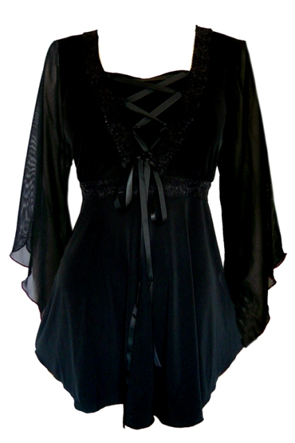 Plus Size Bewitched Corset Top in Black with Black Trim