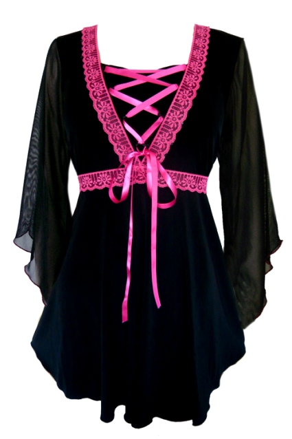 Plus Size Bewitched Corset Top in Black with Fuchsia Trim