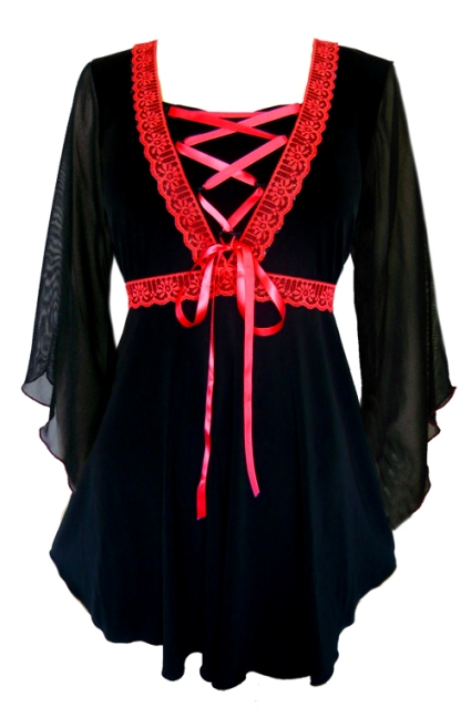 Plus Size Bewitched Corset Top in Black with Red Trim