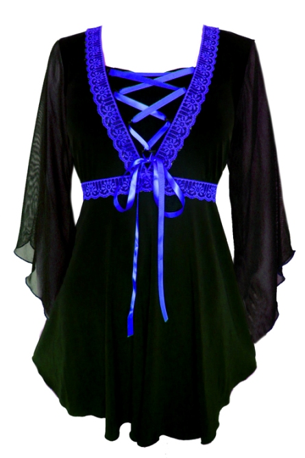 Plus Size Bewitched Corset Top in Black with Royal Blue Trim