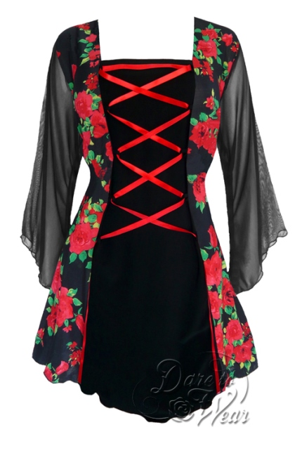 Plus Size Mandarin Corset Top in Red Rose