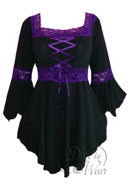 Plus Size Black and Purple Gothic Renaissance Lacing up Corset Top