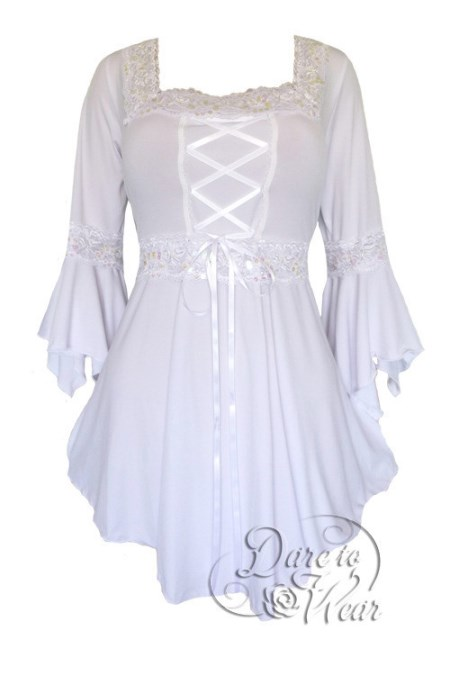 Plus Size White Icing Gothic Renaissance Lacing up Corset Top