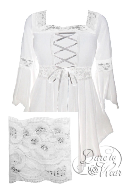 Plus Size White Snowflake Gothic Renaissance Lacing up Corset Top