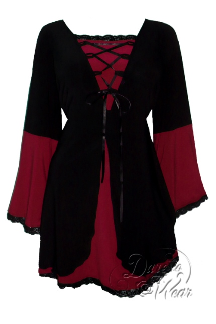 Plus Size Black and Burgundy Medieval Princess Bell Sleeve Corset Top