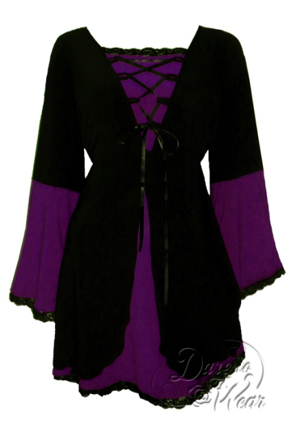 Plus Size Black and Purple Plum Medieval Princess Bell Sleeve Corset Top