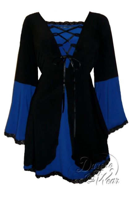 Plus Size Black and Royal Blue Medieval Princess Bell Sleeve Corset Top