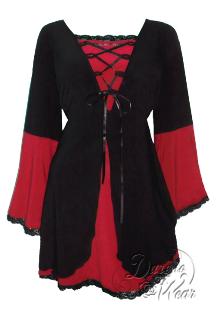 Plus Size Black and Scarlet Red Medieval Princess Bell Sleeve Corset Top - Click Image to Close