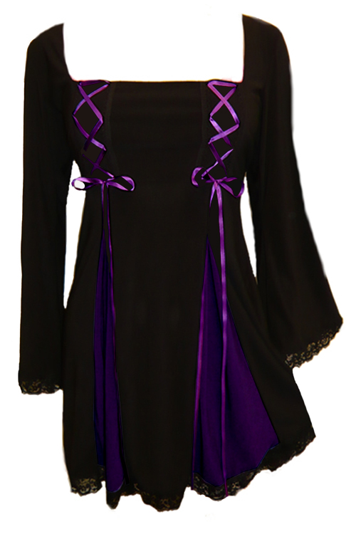 Plus Size Gemini Princess Black and Purple Gothic Corset Top