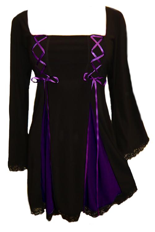 Plus Size Gemini Princess Black And Purple Gothic Corset Top Fc12p